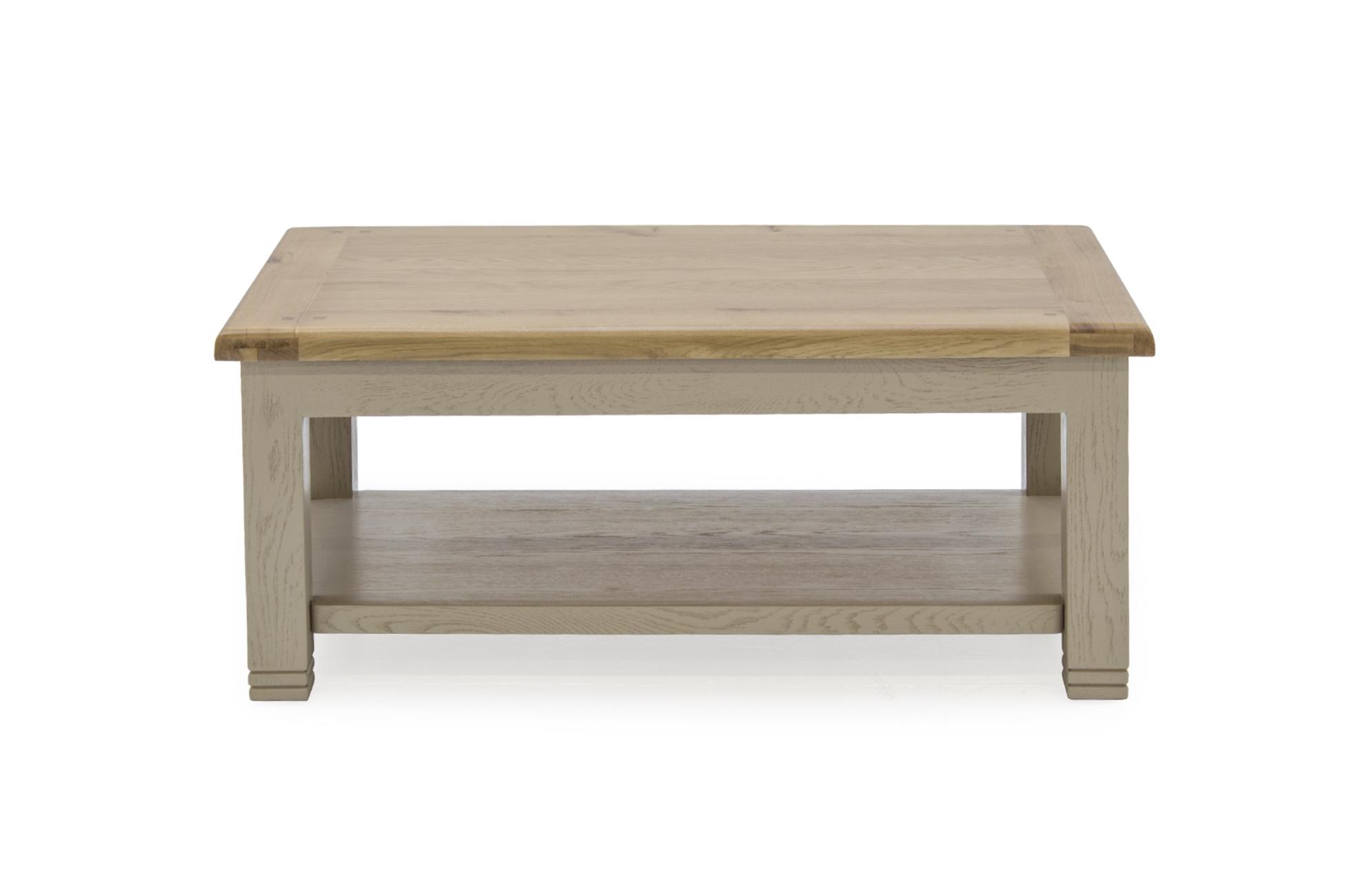 Masa de cafea din lemn de stejar si furnir Logan Taupe L120xl70xH50 cm