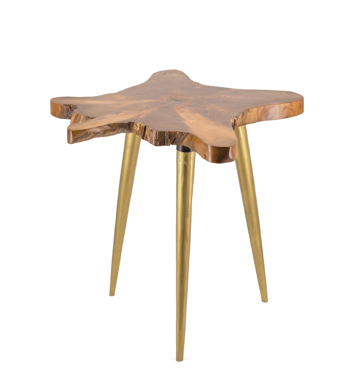 Masa de cafea din lemn, Root Natural / Auriu, L60xl60xH60 cm imagine
