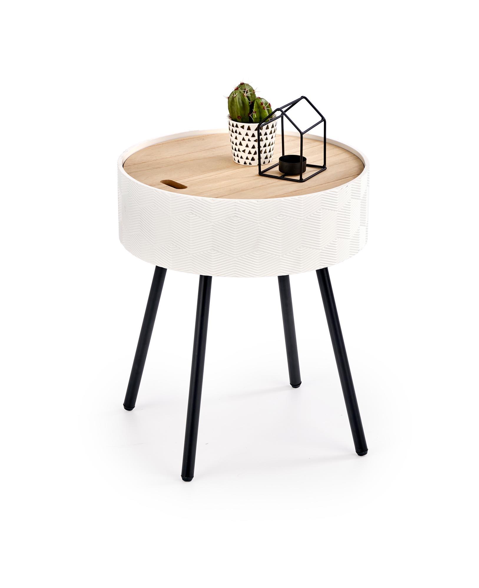 Masa de cafea din MDF, lemn si metal Aura Alb / Negru, Ø38xH45 cm