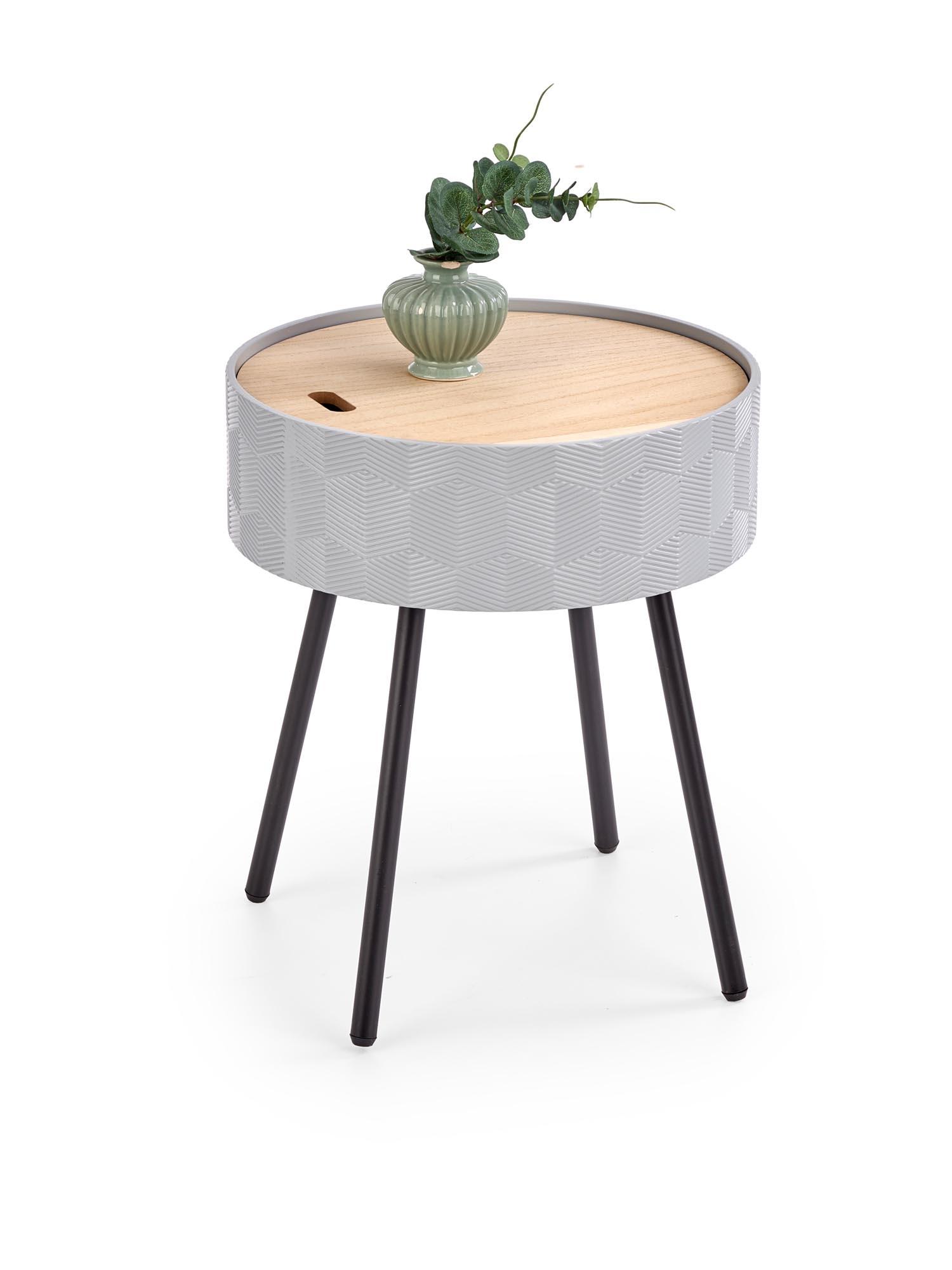 Masa de cafea din MDF, lemn si metal Aura Gri / Negru, Ø38xH45 cm poza