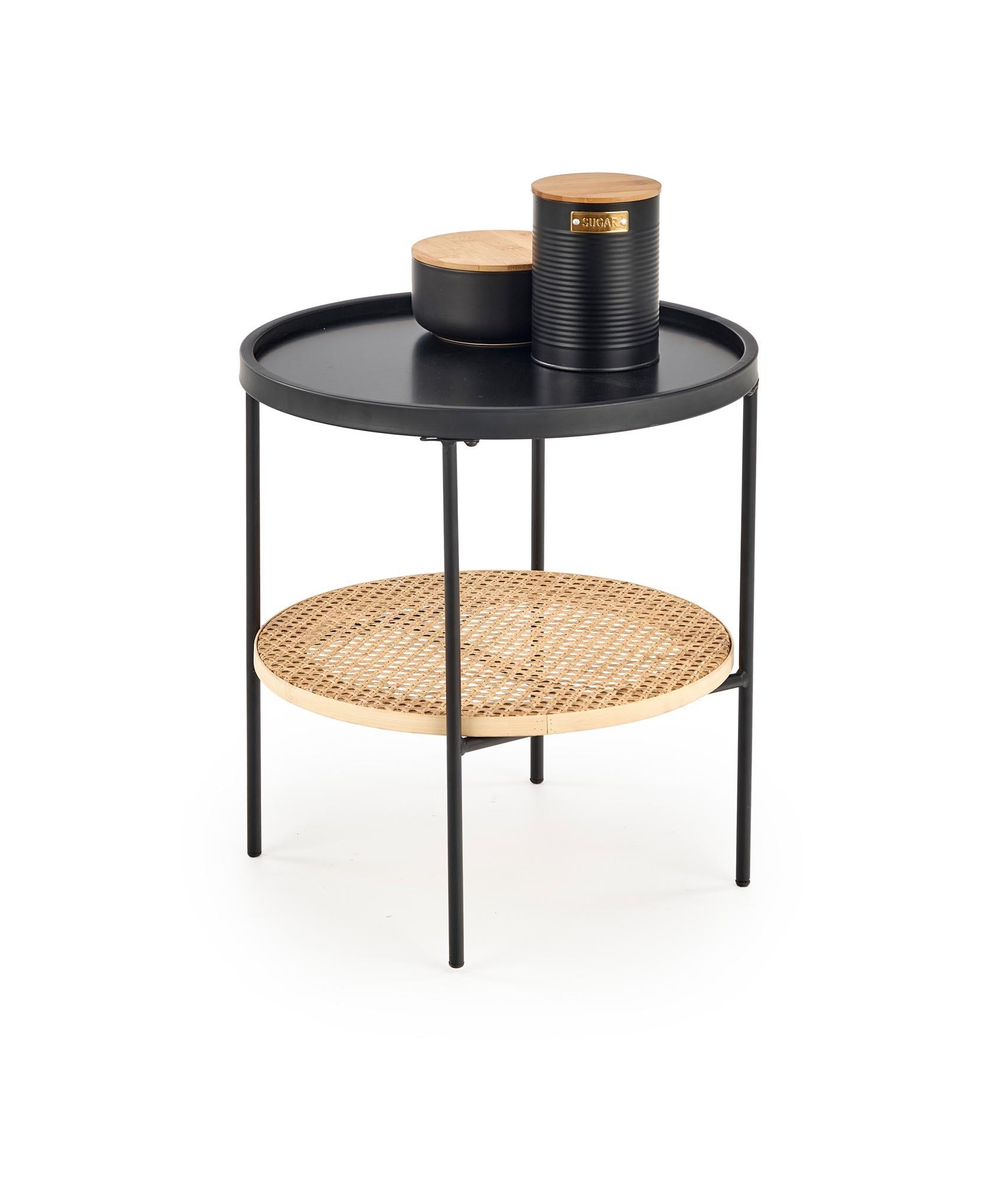 Masa de cafea din MDF, ratan si metal Kampa Natural / Negru, Ø45xH45 cm poza