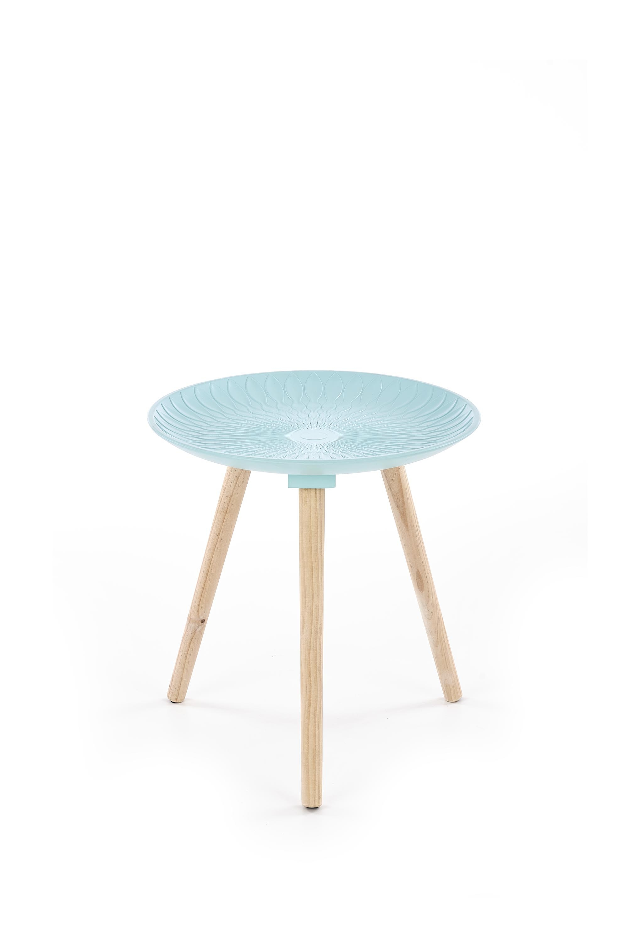 Masa de cafea din MDF si lemn de pin Bingo Light Blue, Ø40xH42 cm imagine