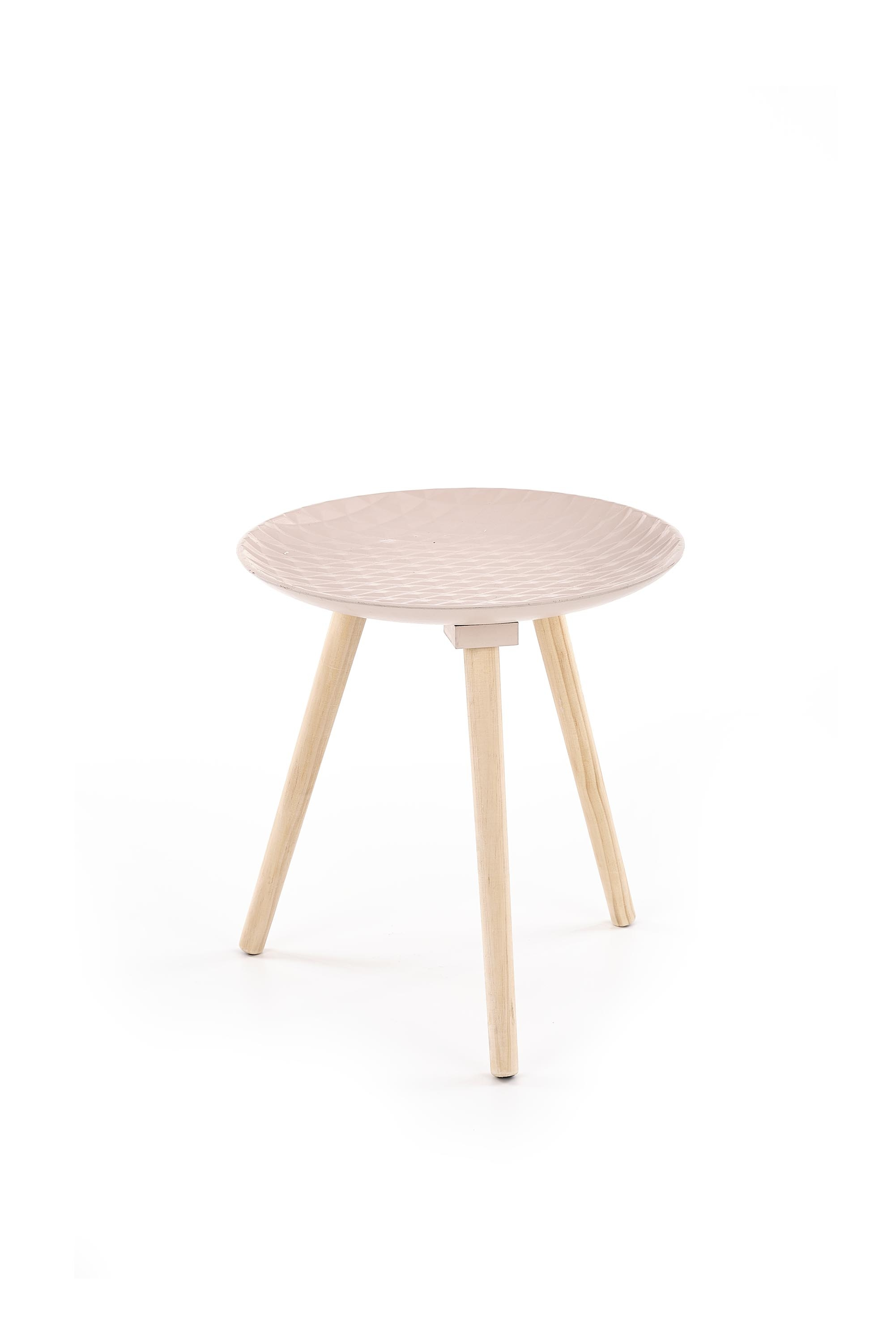 Masa de cafea din MDF si lemn de pin Bingo Light Pink, Ø40xH42 cm imagine