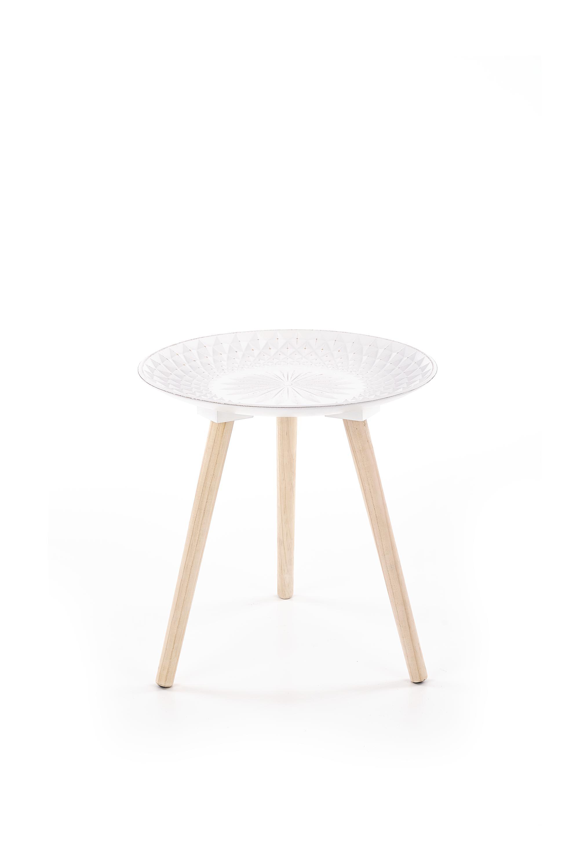 Masa de cafea din MDF si lemn de pin Bingo White, Ø40xH42 cm poza