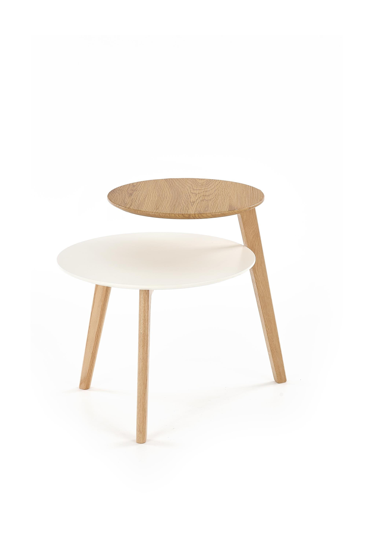 Masa de cafea din MDF si lemn de stejar Cascada Golden Oak / White, Ø60xH55 cm poza
