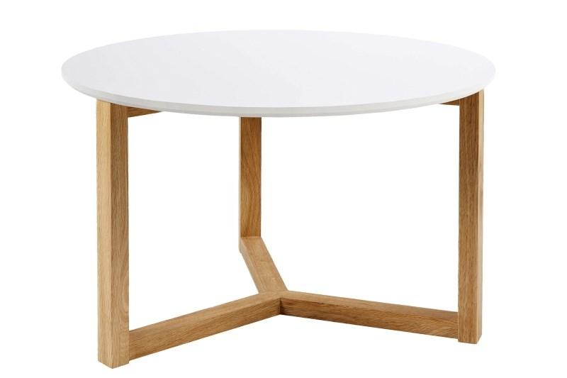 Masa de cafea din MDF si lemn Osaka Alb / Stejar, Ø90xH40 cm