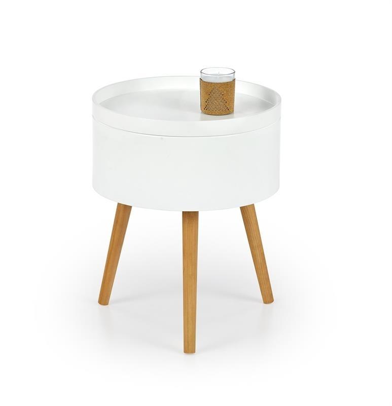 Masa de cafea din MDF si lemn Supra Alb / Natural, Ø38xH48 cm