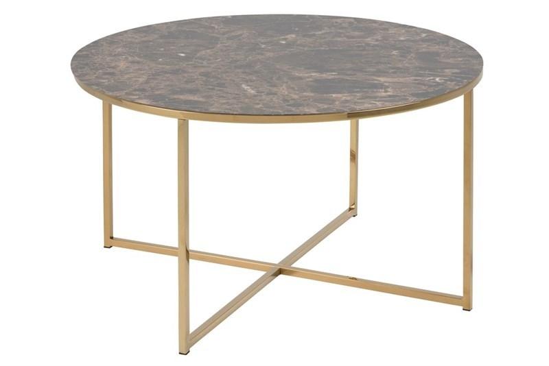 Masa de cafea din MDF si metal Alisma Maro / Auriu, Ø80xH46 cm poza