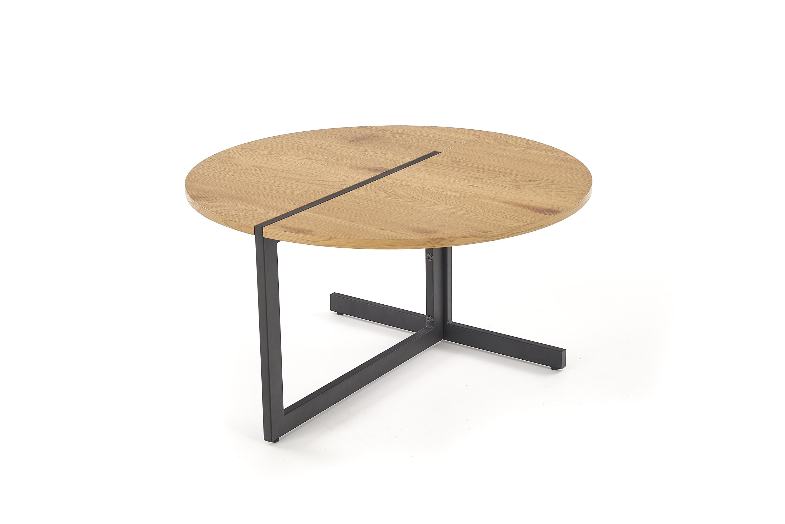 Masa de cafea din MDF si metal Amora Golden Oak / Black, Ø80xH43 cm imagine