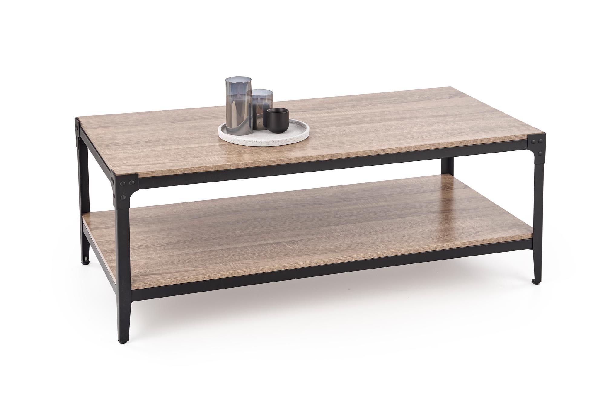 Masa de cafea din MDF si metal Ariza Stejar / Negru, L120xl60xH45 cm