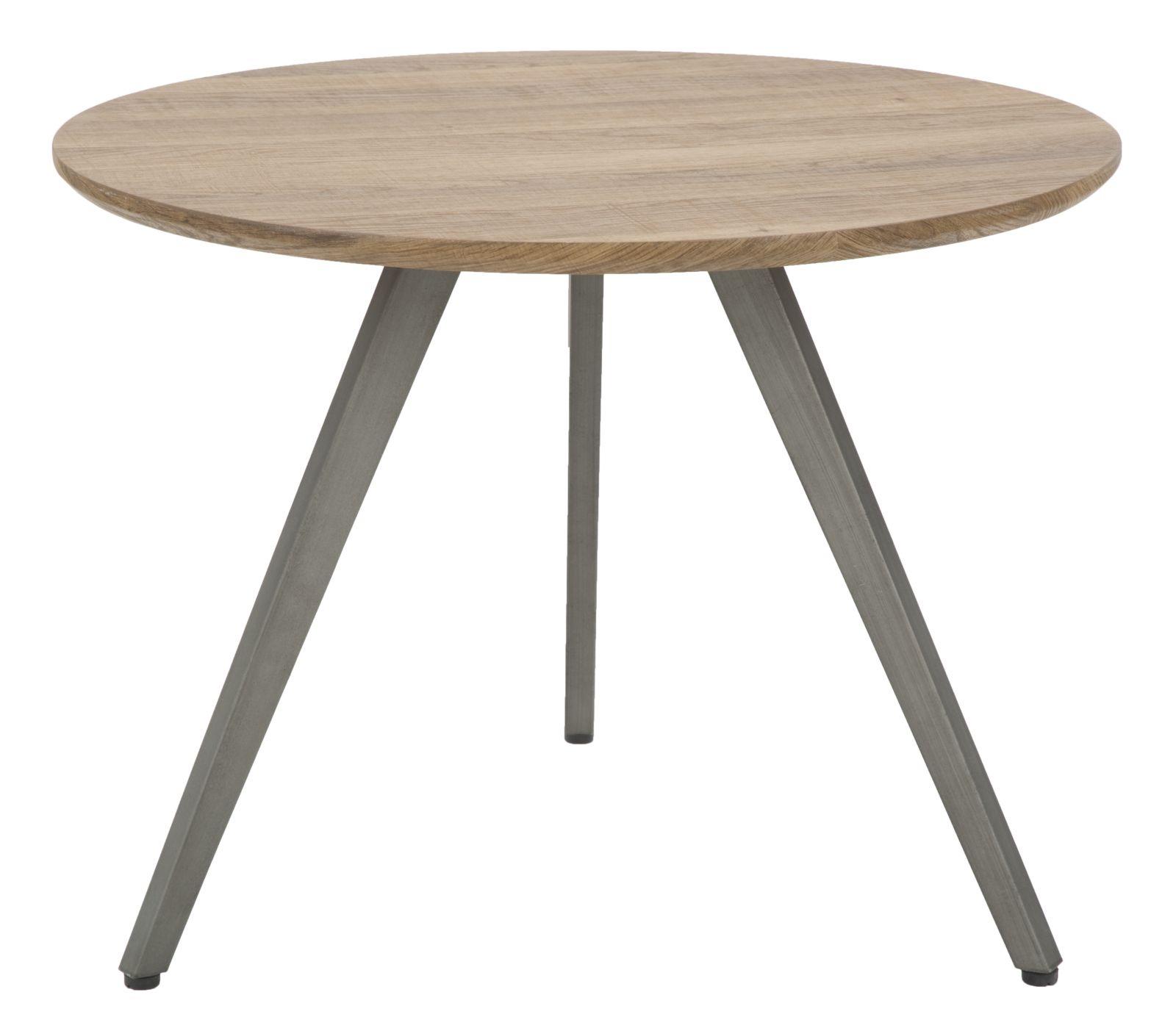 Masa de cafea din MDF si metal Ballart Round Natural / Grey O60xH45 cm