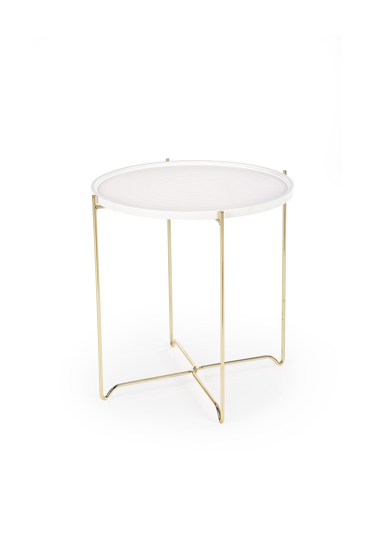 Masa de cafea din MDF si metal Casa White / Gold, Ø47xH48 cm imagine
