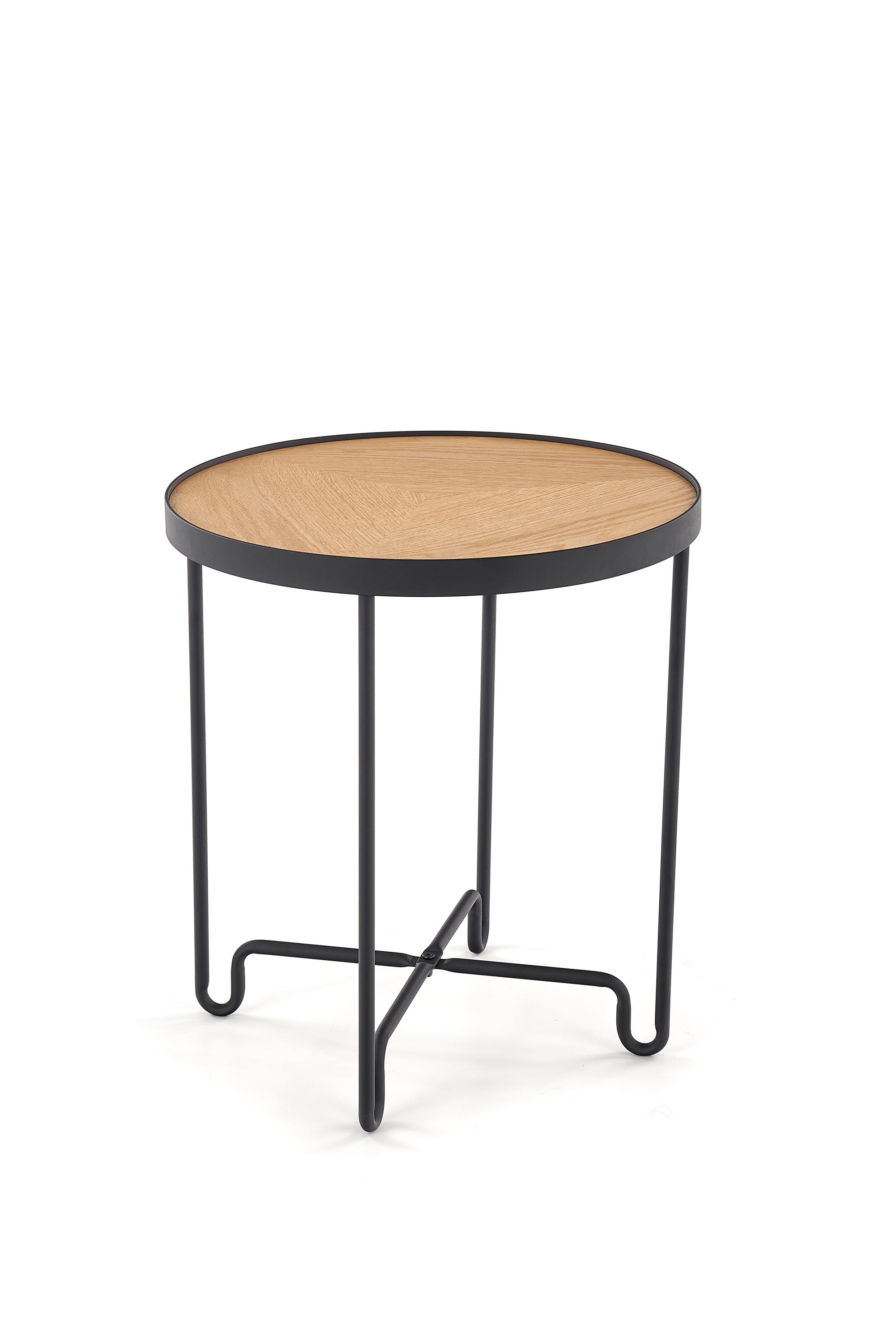 Masa de cafea din MDF si metal Elva Natural / Black, Ø44xH50 cm imagine
