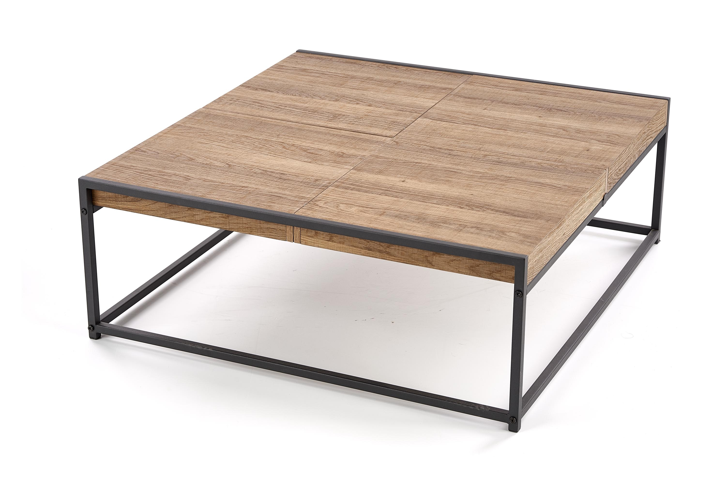 Masa de cafea din MDF si metal Fregata Honey Walnut / Black, L84xl80xH30 cm