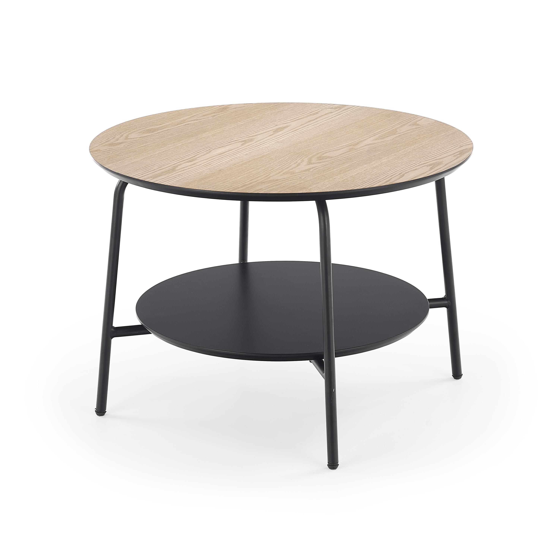 Masa de cafea din MDF si metal Genua Law-3 Ash / Black, Ø60xH43 cm imagine