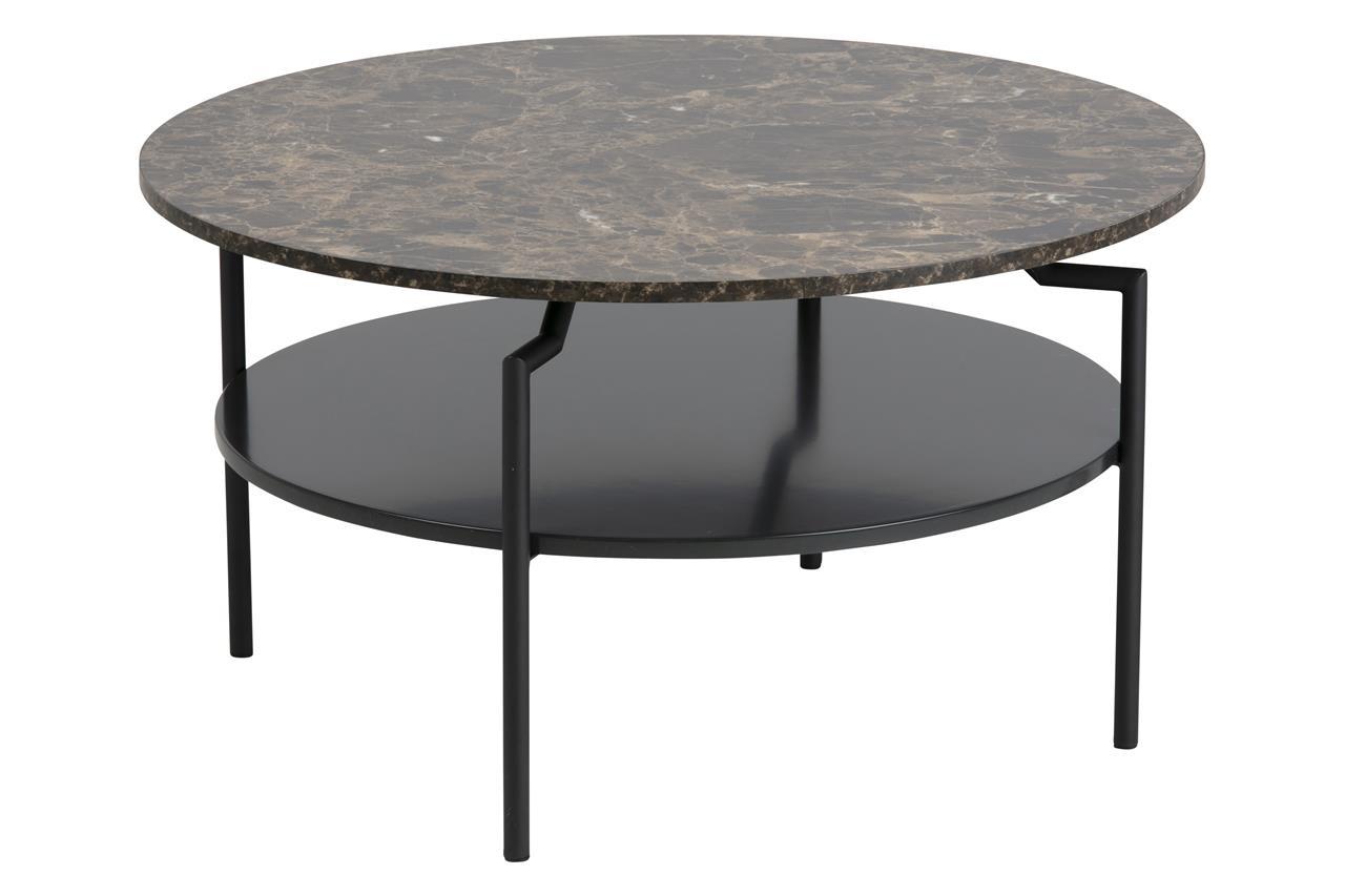 Masa de cafea din MDF si metal Goldington Marmura / Negru, Ø80xH45 cm