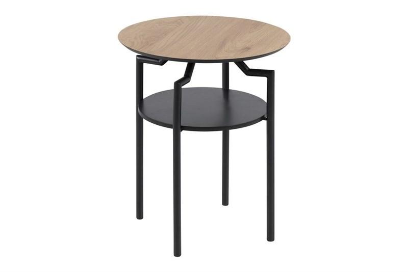 Masa de cafea din MDF si metal Goldington Oak / Black, Ø 45xH55 cm imagine