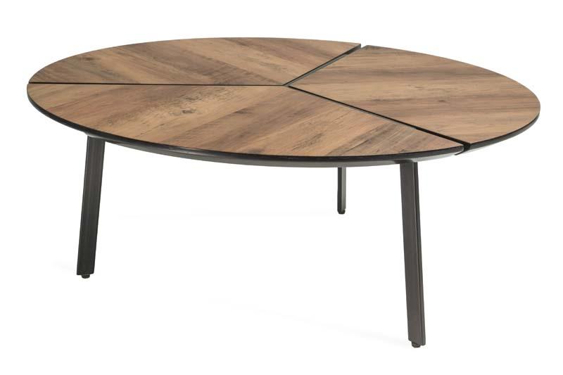 Masa de cafea din MDF si metal Klara 1 Walnut / Black O86xH35 cm