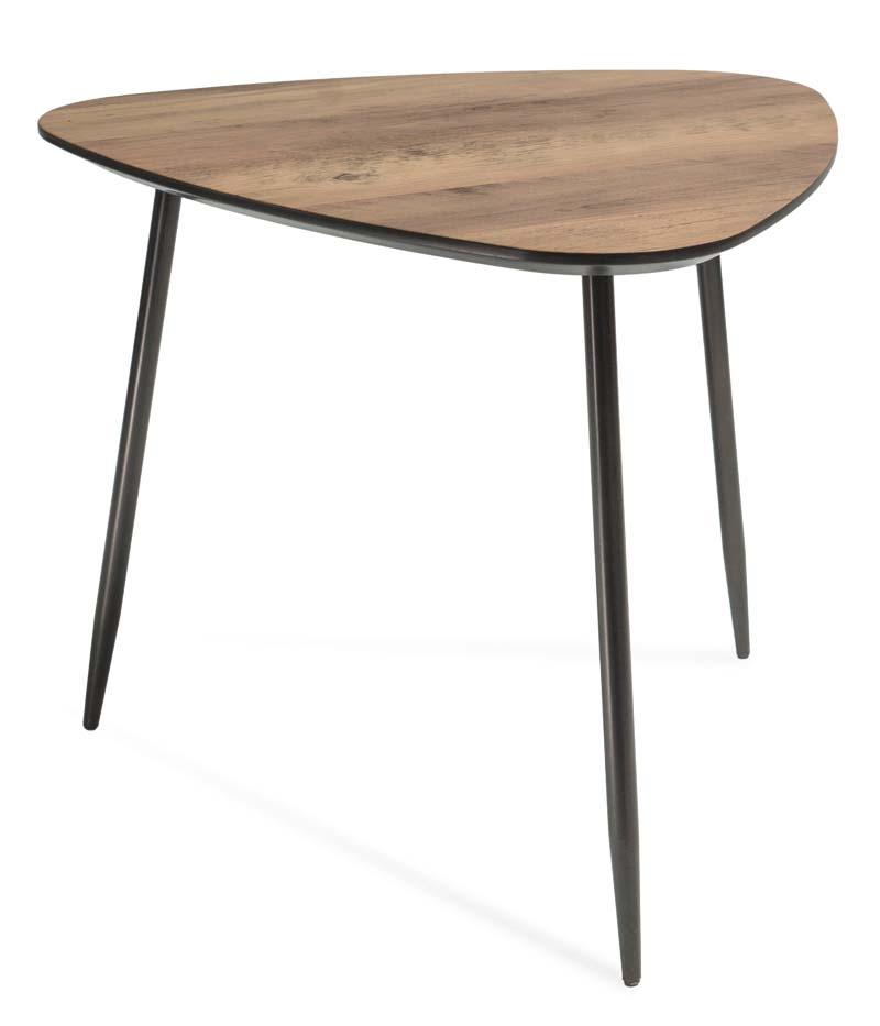Masa de cafea din MDF si metal Klara 3 Walnut / Black L57xl57xH47 cm