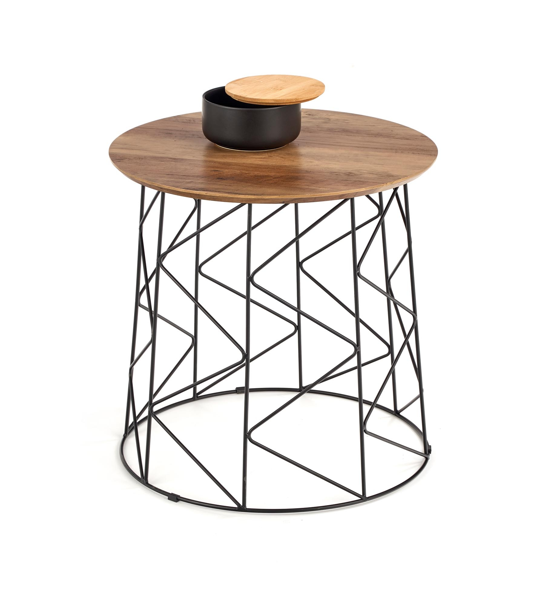 Masa de cafea din MDF si metal Musaka Nuc / Negru, Ø50xH50 cm