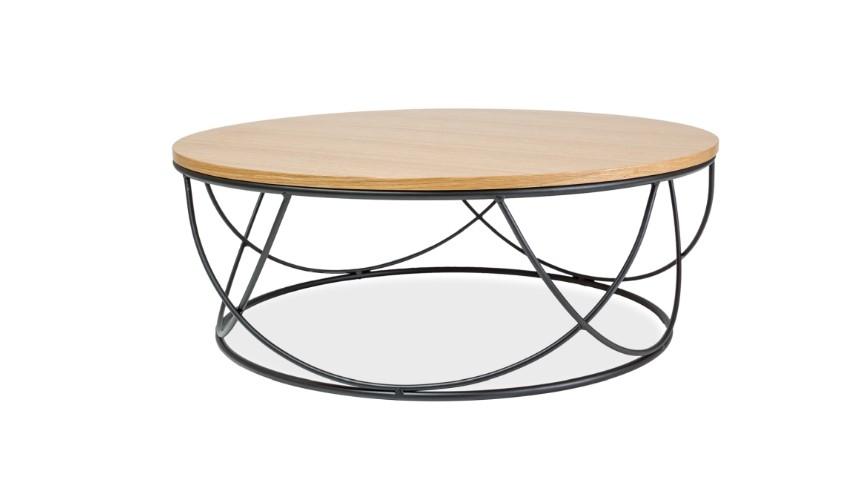 Masa de cafea din MDF si metal Sepia I Oak / Black O80xH30 cm