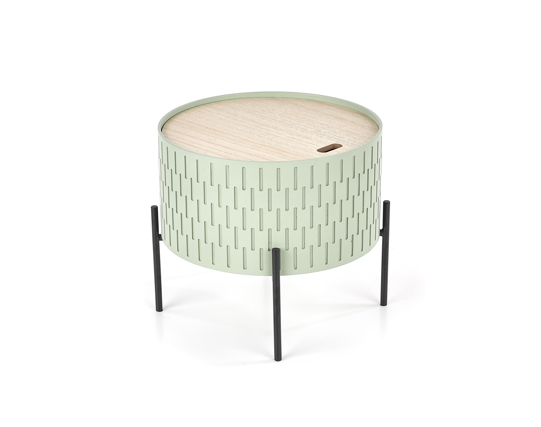 Masa de cafea din MDF si metal Sintra Light Green / Black, Ø35xH35 cm poza