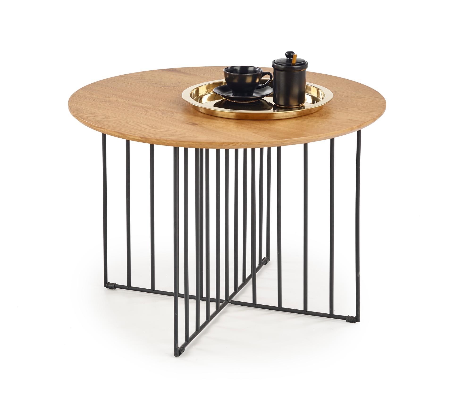 Masa de cafea din MDF si metal Zara Stejar / Negru, Ø80xH55 cm poza