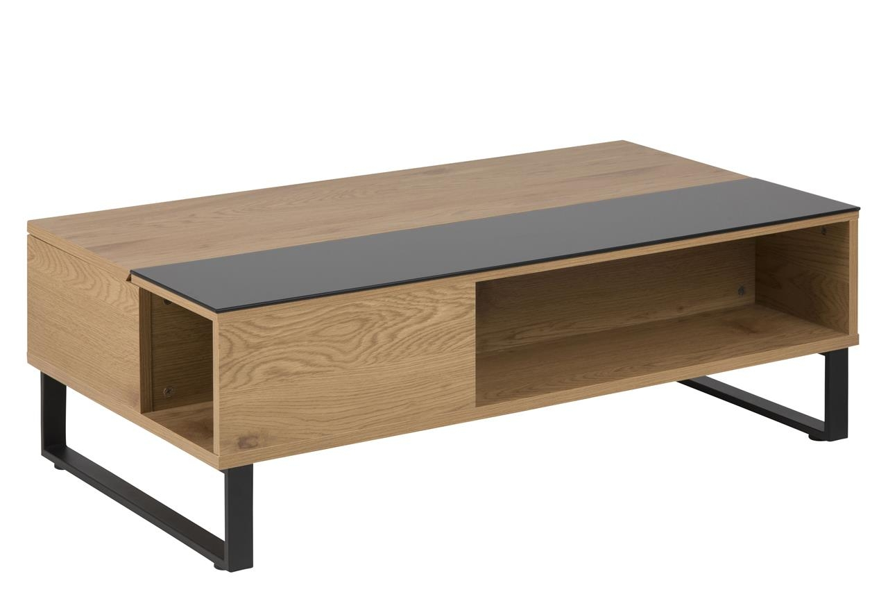 Masa de cafea din MDF si sticla Azalea Oak, L110xl60xh35 cm imagine