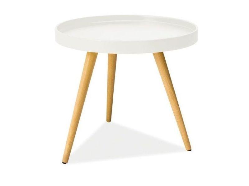 Masa de cafea din MDF, Toni Alb / Natural, Ø45xH50 cm