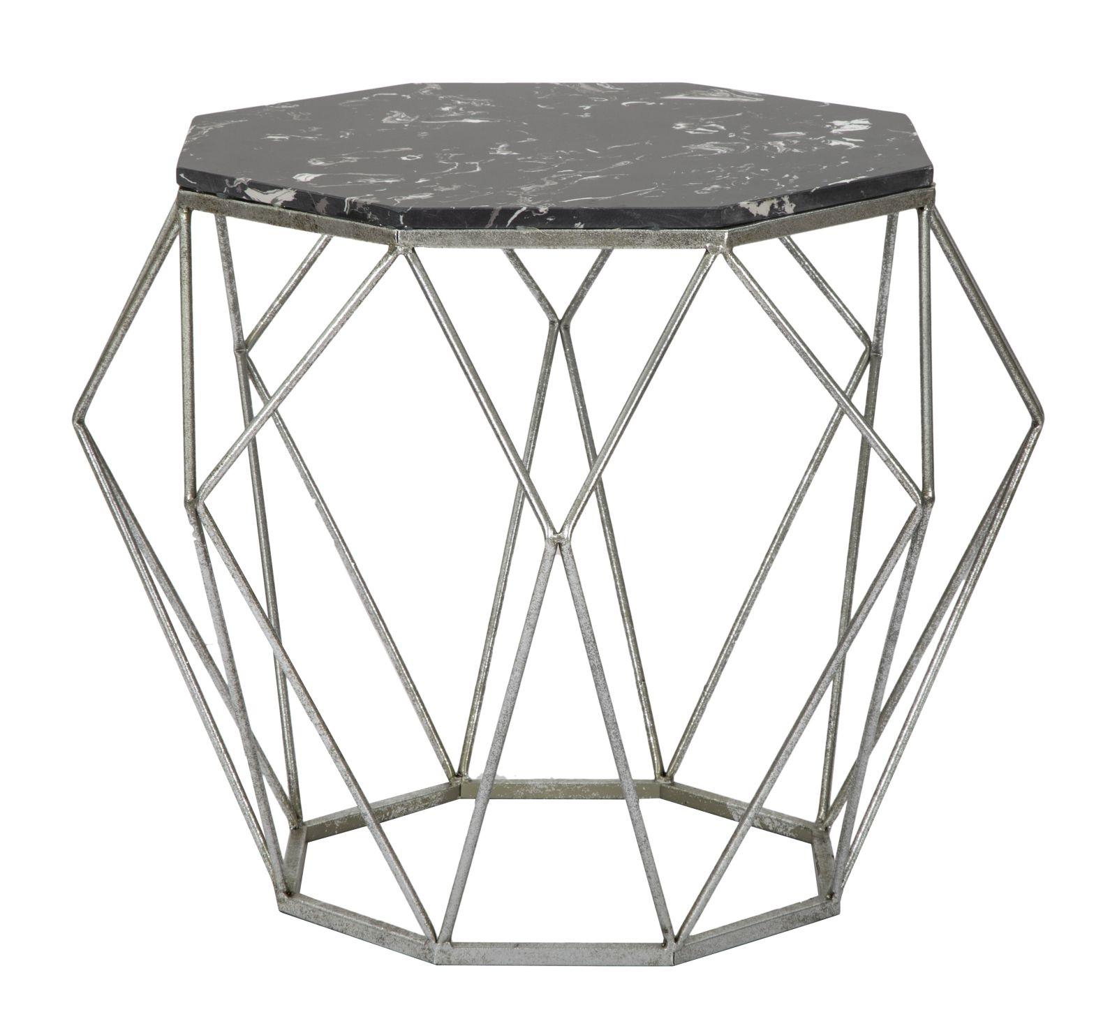 Masa de cafea din metal Diamond Marble Negru, Ø68xH52 cm poza