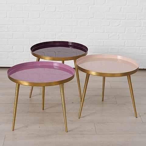 Masa de cafea din metal Minella Multicolor / Auriu, Modele Asortate, Ø50xH41 cm poza