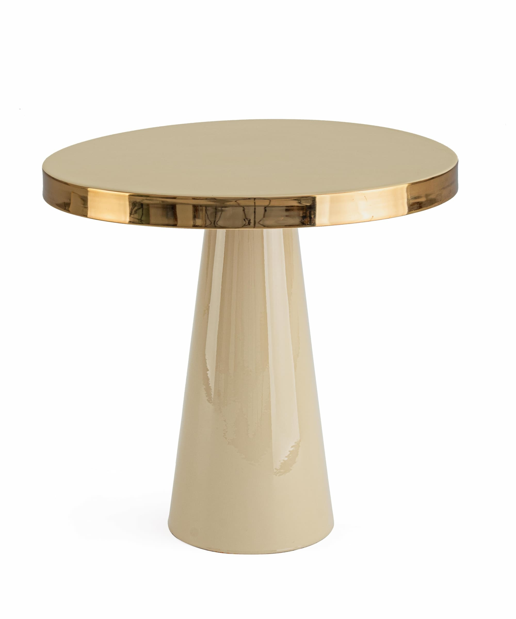 Masa de cafea din metal Nandika Ivoir / Auriu, Ø45,5xH43 cm