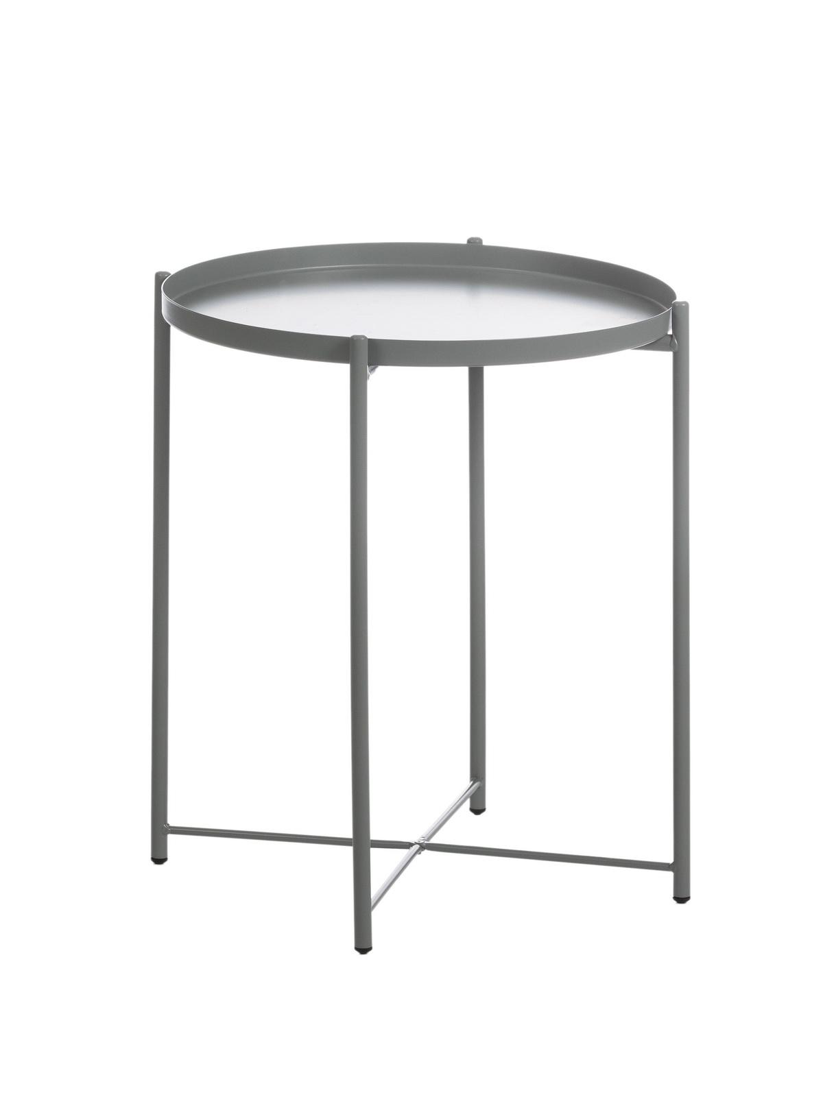Masa de cafea, din metal Polly Grey, Ø44xH52.5 cm