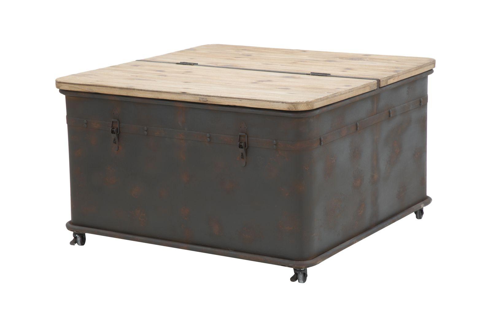 Masa de cafea din metal si lemn de brad cu spatiu de depozitare Coffee BrownL805xl805xH49 cm