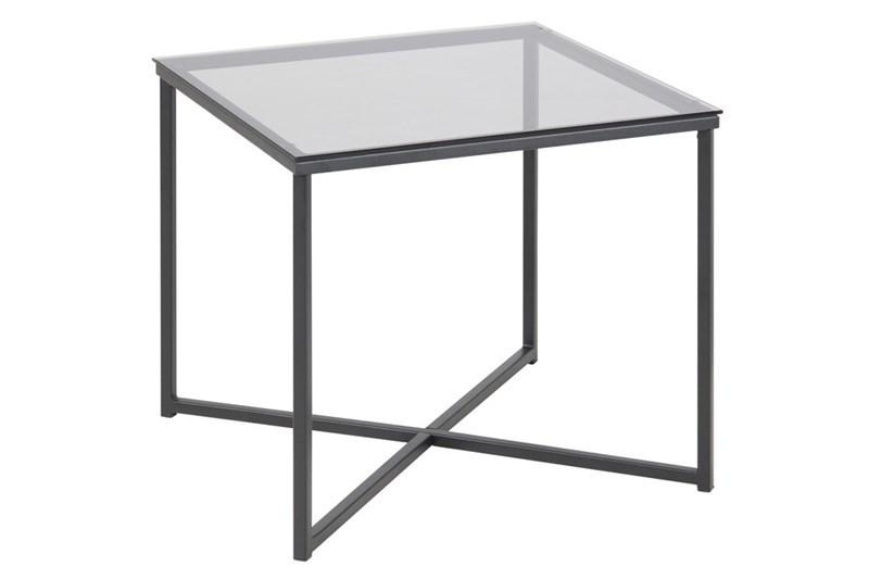 Masa de cafea din metal si sticla Cross Black, L50xl50xH45 cm imagine