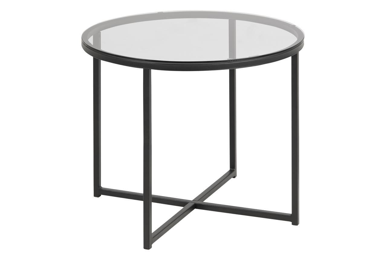Masa de cafea din metal si sticla Cross Negru, Ø55xH45 cm somproduct.ro