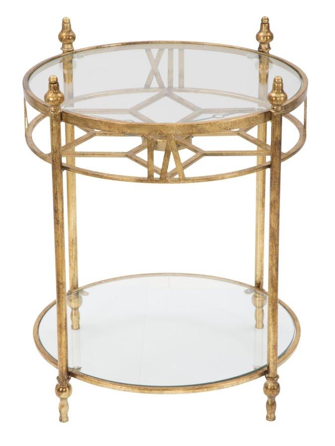Masa de cafea din metal si sticla cu ceas Glam Tower Gold O57xH67 cm
