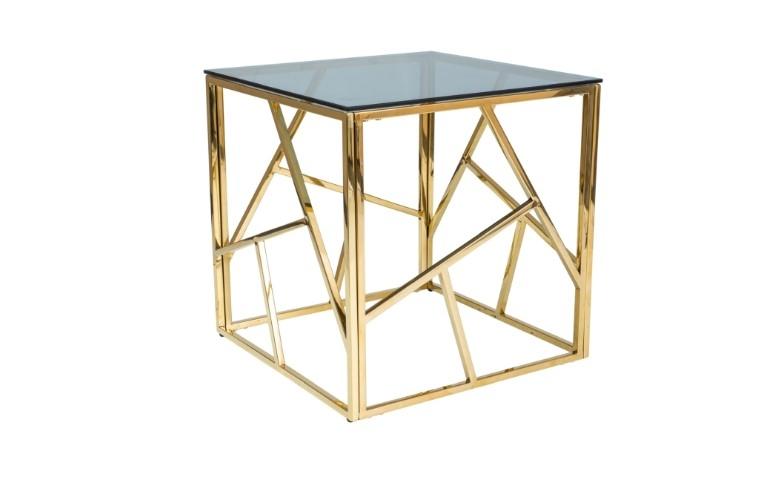 Masa de cafea, din metal si sticla Escada B Auriu, L55xl55xH55 cm