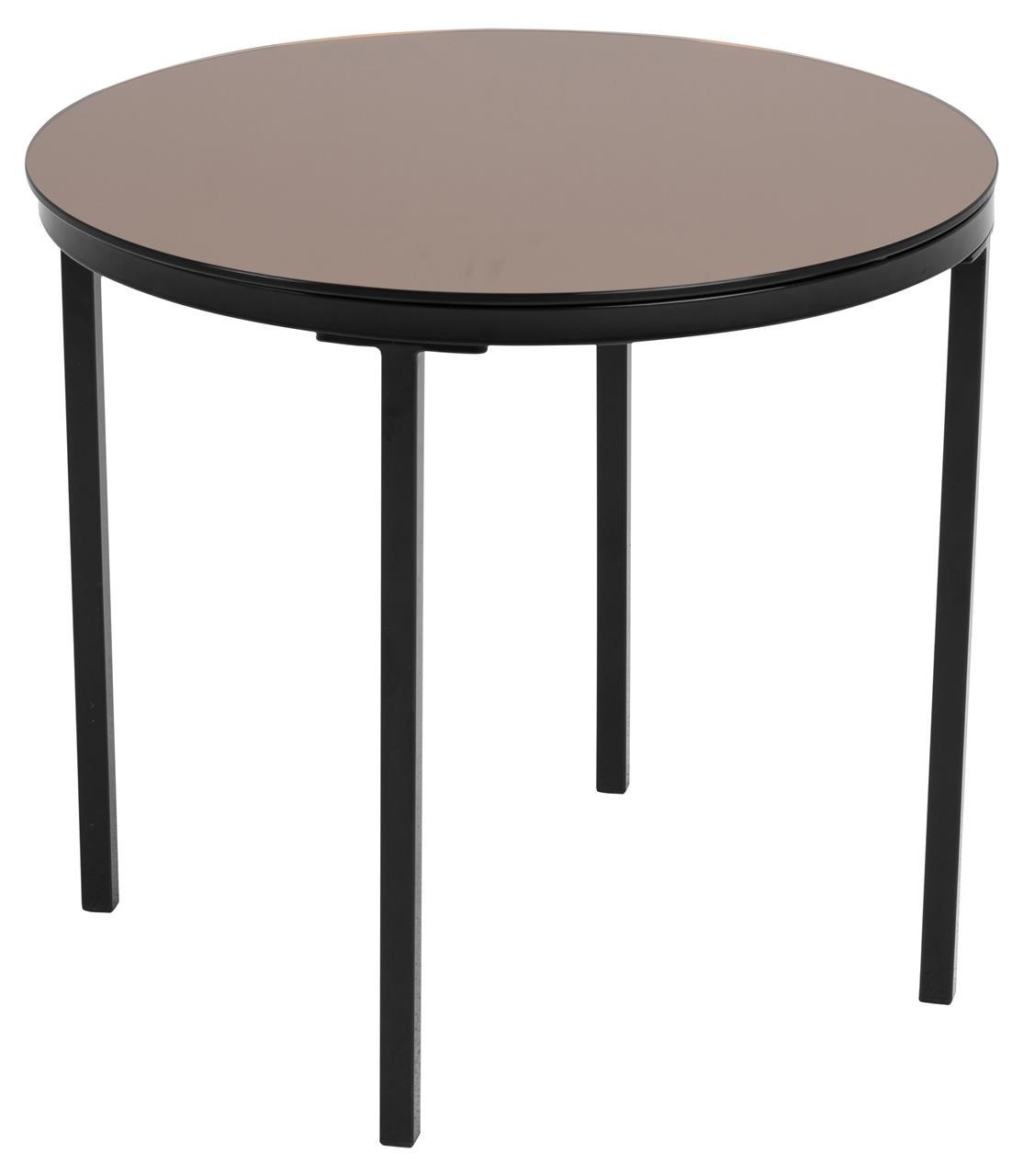 Masa de cafea din metal si sticla Gina II Alama / Negru, Ø50xH45 cm poza