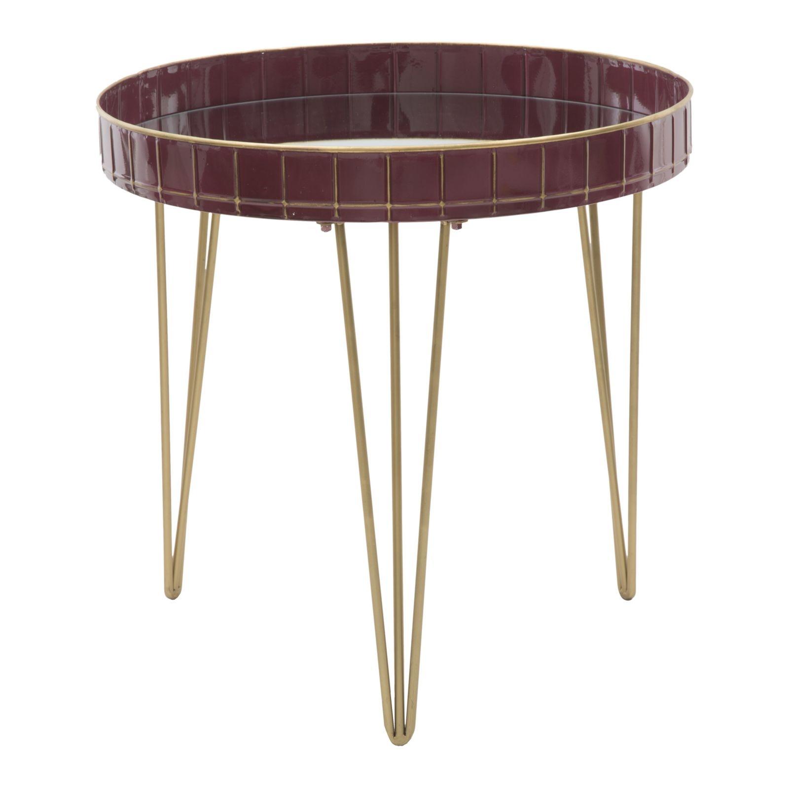 Masa de cafea din metal si sticla Glam Bordeaux O 60xH60 cm