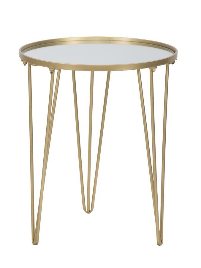 Masa de cafea din metal si sticla Glam Gold O 40xH49cm