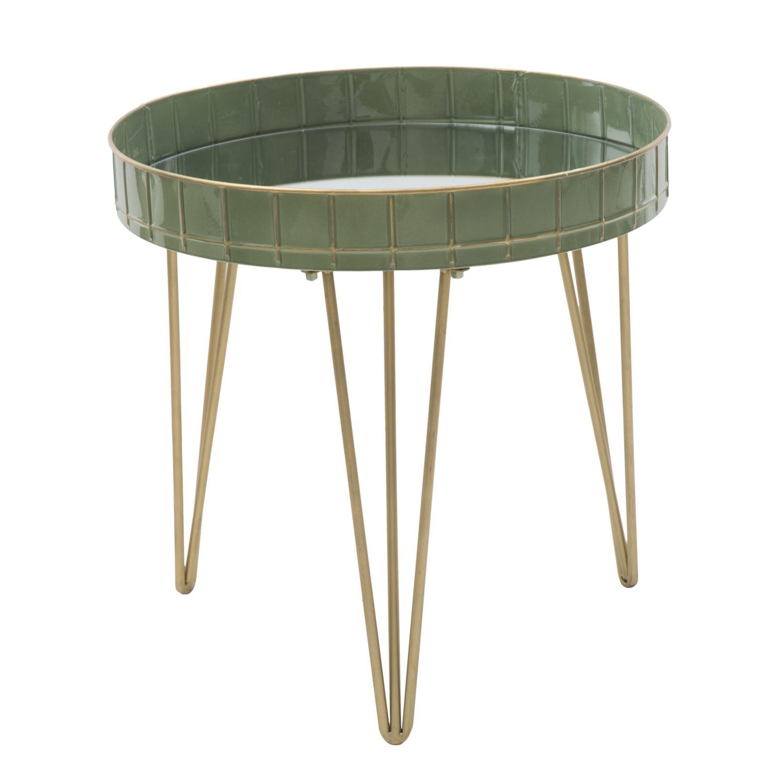 Masa de cafea din metal si sticla Glam Green O 51xH50 cm