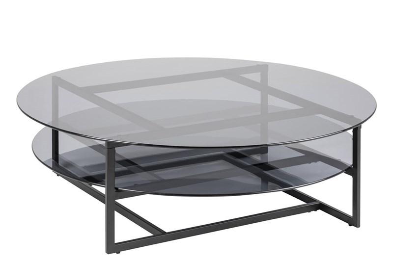 Masa de cafea din metal si sticla Loke Black O120xH36 cm