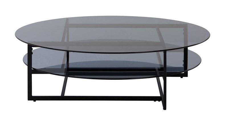 Masa de cafea din metal si sticla Loke I Black O120xH36 cm