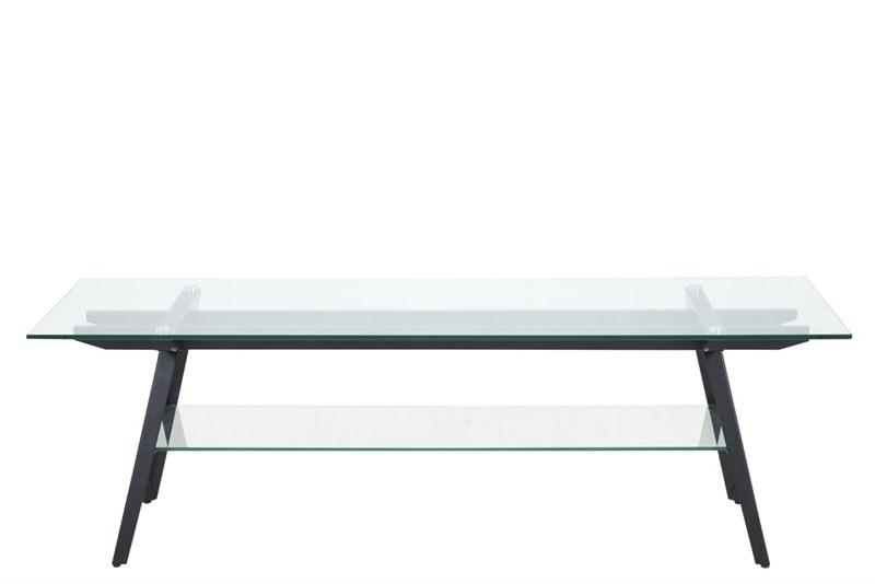 Masa de cafea din metal si sticla Monti Black L160xl40xh40 cm