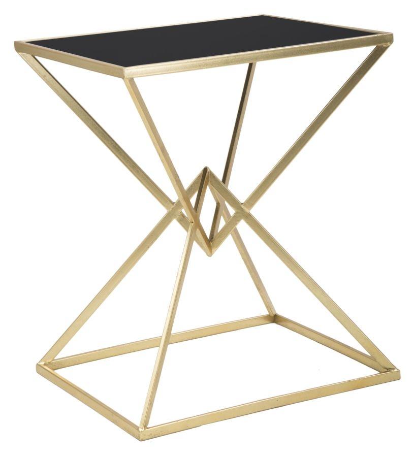 Masa de cafea din metal si sticla Piramid Gold / Black, l57xA46xH68 cm
