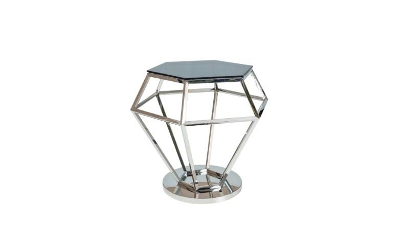 Masa de cafea, din metal si sticla Rolex Chrome, L48xl42xH55 cm