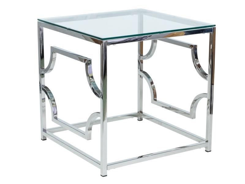 Masa de cafea din metal si sticla Versace B Crom, L55xl55xH55 cm imagine