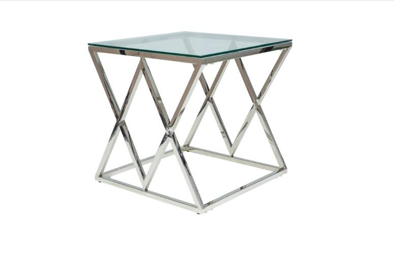 Masa de cafea din metal si sticla Zegna B Chrome L55xl55xH55 cm