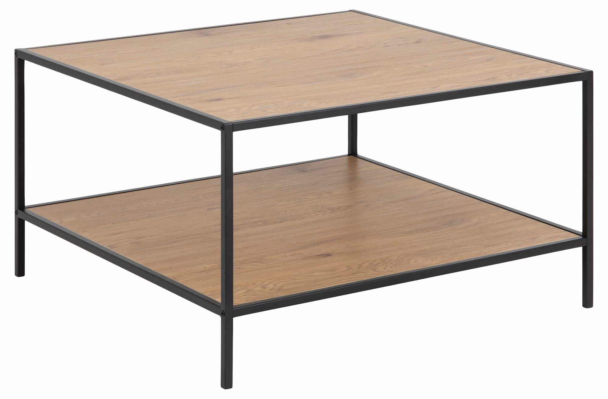Masa de cafea din pal si metal Seaford Square Stejar / Negru, L80xl80xH45 cm